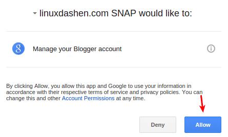 authorize blogger account