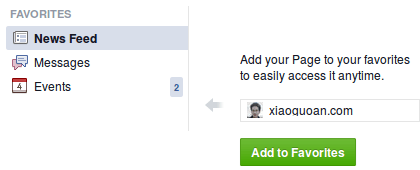 facebook page add to favorites