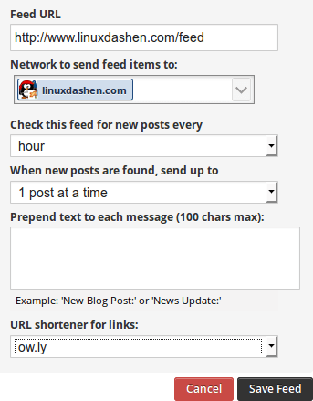 Hootsuite add RSS/Atom feed