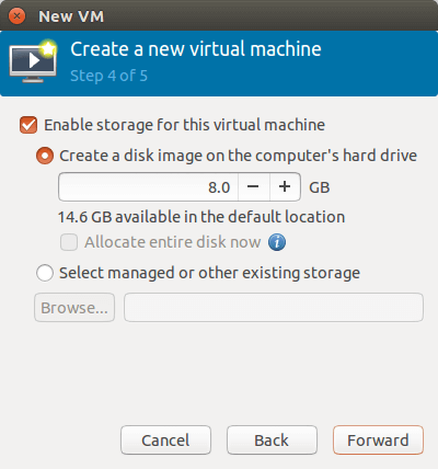 specify the size of virtual disk