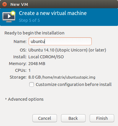 give your virtual machine a name