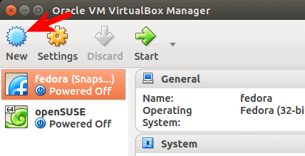 create a new virtual machine inside virtualbox