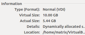 increae virtualbox disk size