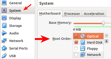 virtualbox boot order