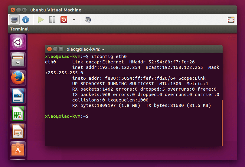 ubuntu vritual machine running in virt-manger window