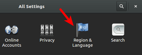 gnome settings - region & language