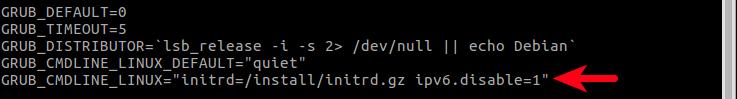 disable ipv6 through grub config file