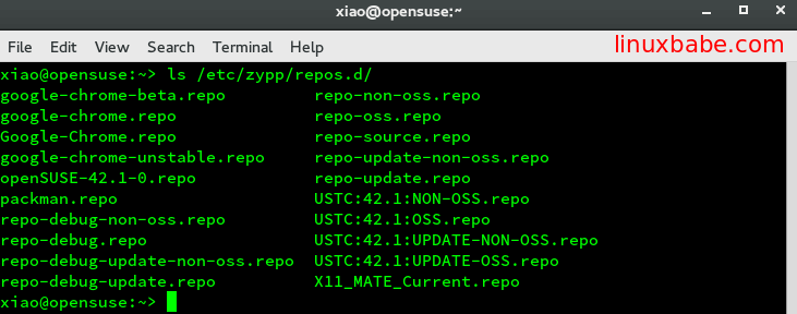 openSUSE repo files