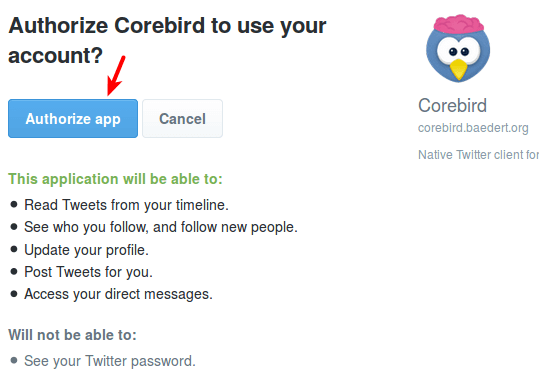 authorize corebird to use your twitter account