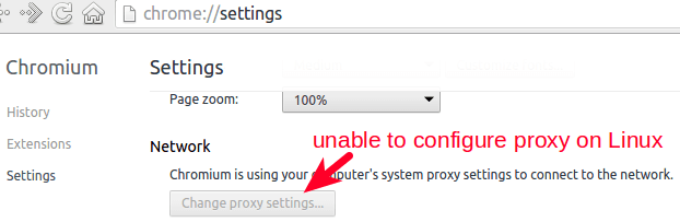 change proxy setting in Chromium and Google Chrome