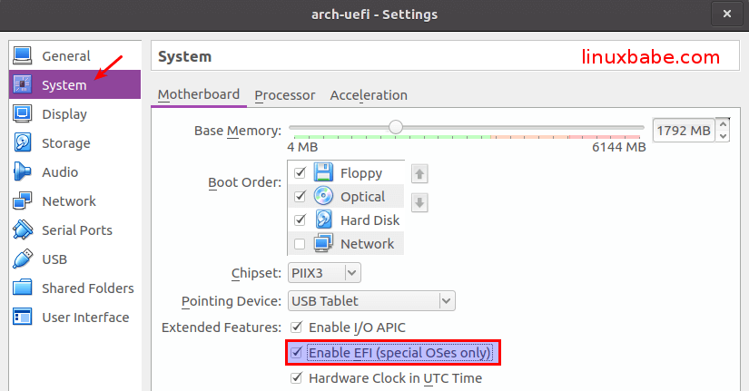 Install Arch Linux in Virtualbox with UEFI Firmware