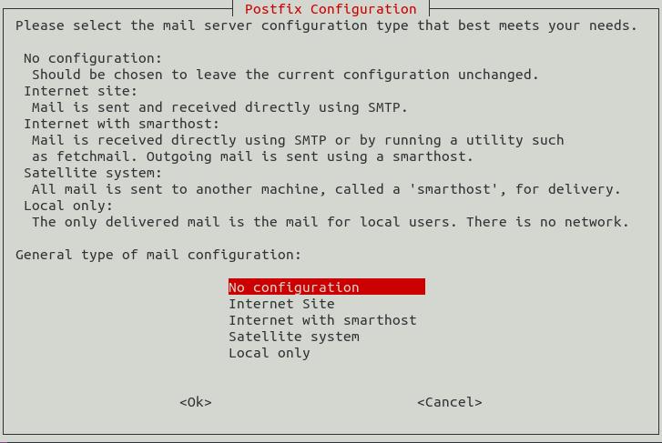 postfix no configuration