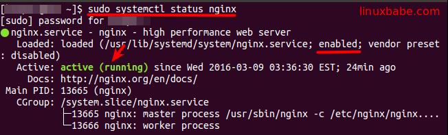 sudo systemctl status nginx