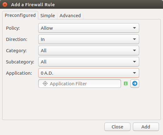 gufw add a firewall rule
