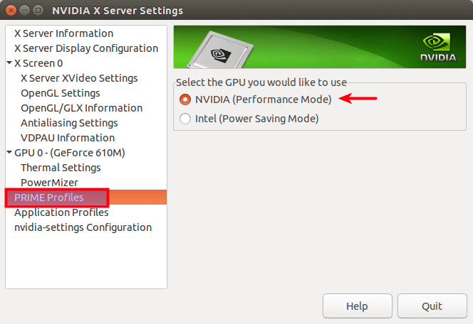 NVIDIA X Server Settings_ prime profiles