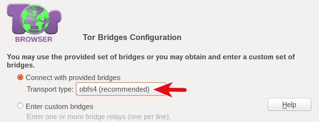 Tor bridge configuration
