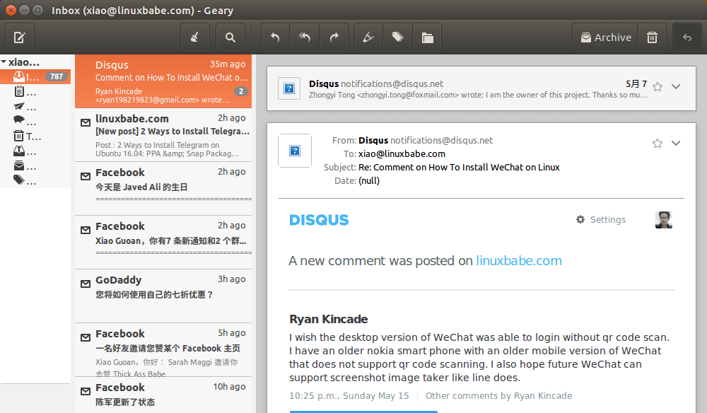 geary email client for gnome