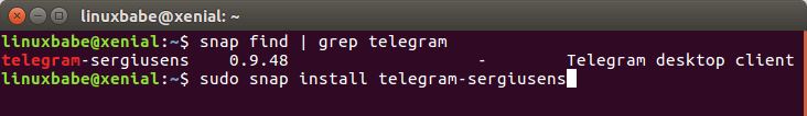 install telegram on ubuntu 16.04 via snap package