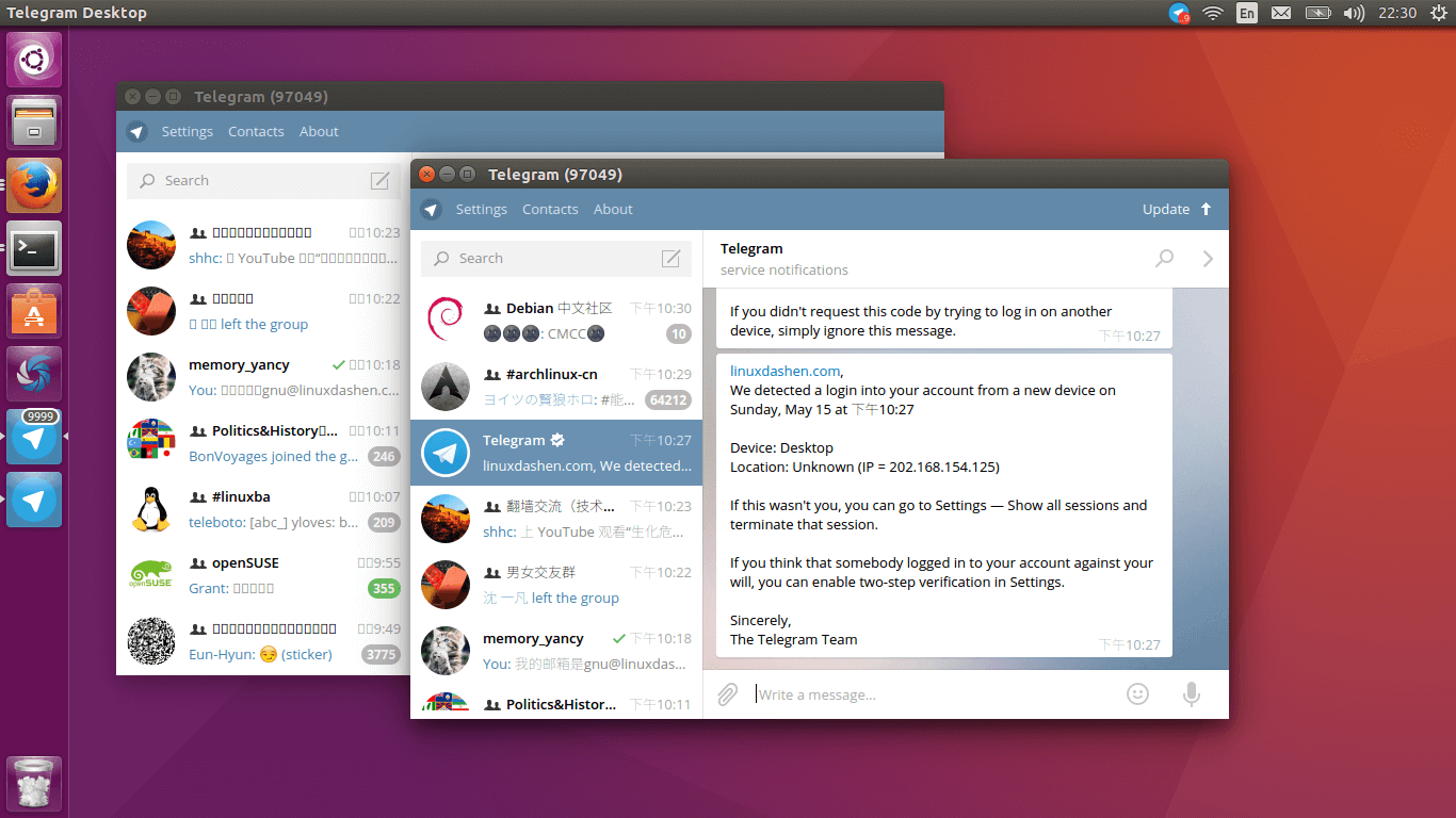 run two telegram clients at the same time on ubuntu 16.04