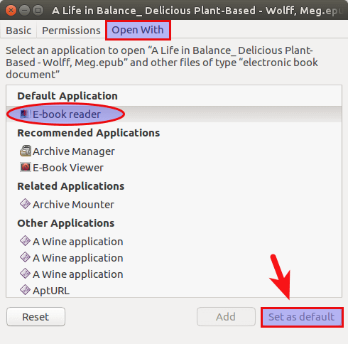 set fbreader as default for epub