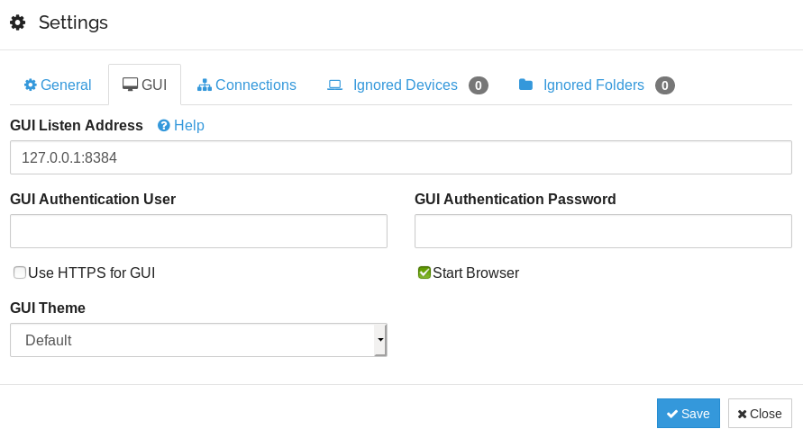 syncthing gui user authentication