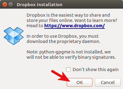 Dropbox daemon Installation