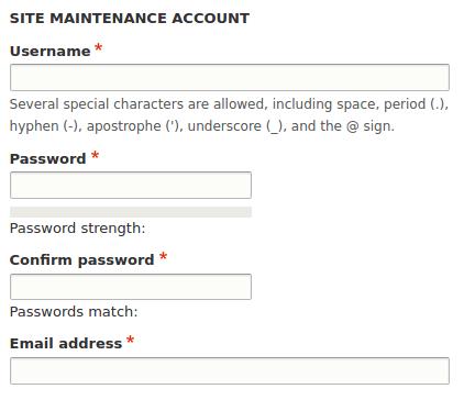 Drupal user 1 site maintenance account