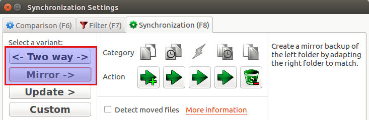 FreeFileSync Synchronization Settings