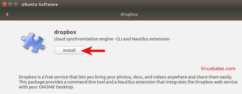 Ubuntu Software install dropbox