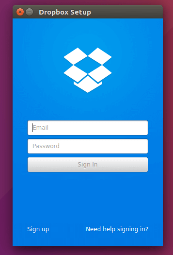 Ubuntu dropbox login