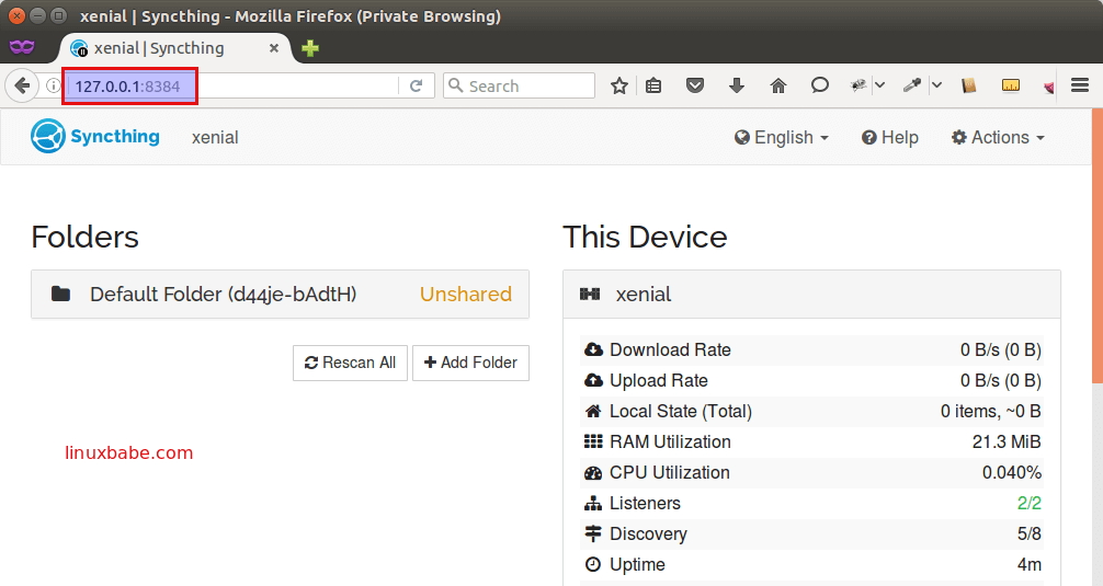 Ubuntu syncthing web interface