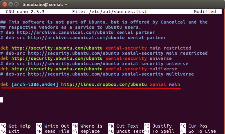 dropbox ubuntu 17.10
