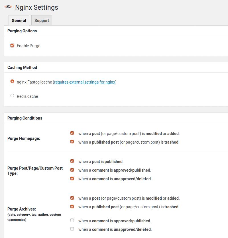 nginx fastcgi cache purge wordpress