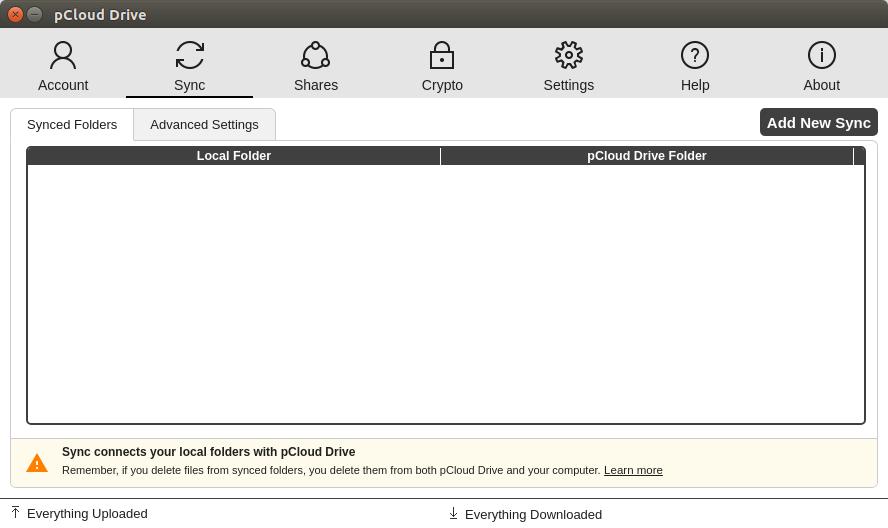 pcloud drive add new sync folder