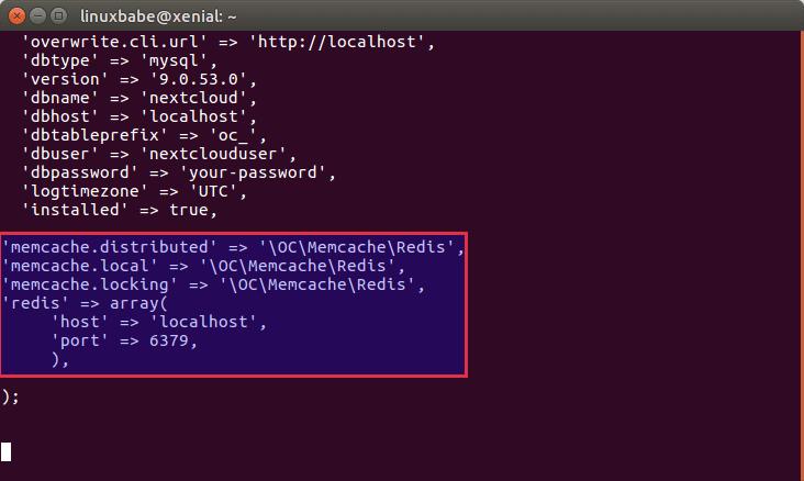 ubuntu 16.04 redis cache nextcloud
