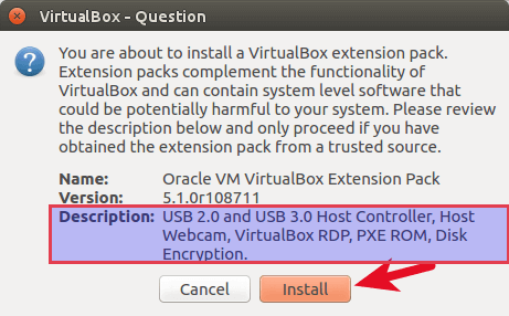 Oracle VM VirtualBox extension pack