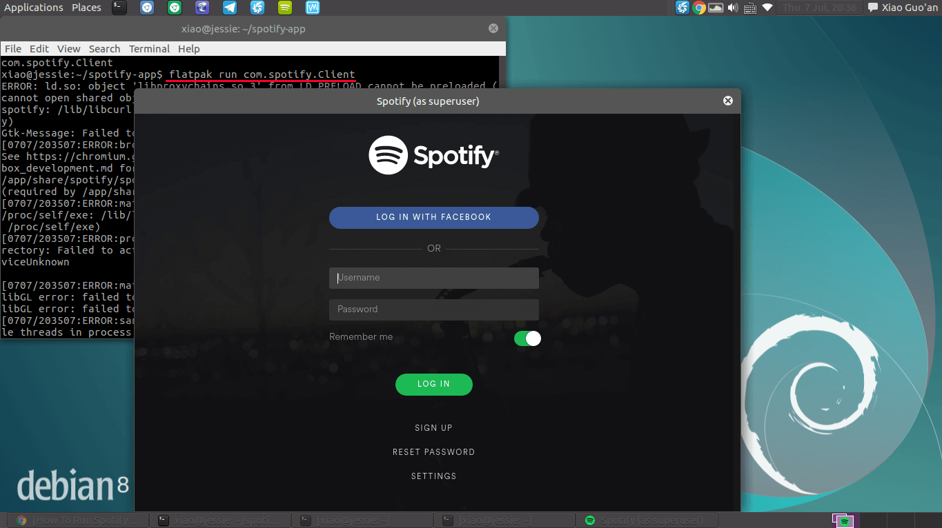 Spotify Flatpak App running on Debian 8 Jessie