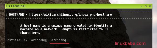 archbang linux install set hostname