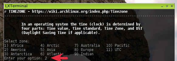 archbang linux install time zone
