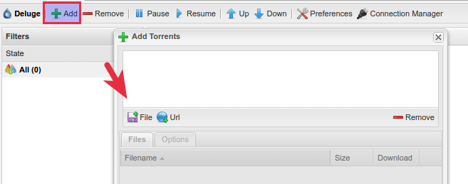 deluge bittorrent web ui add torrent
