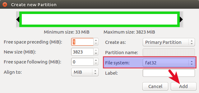 gparted create fat32 file system