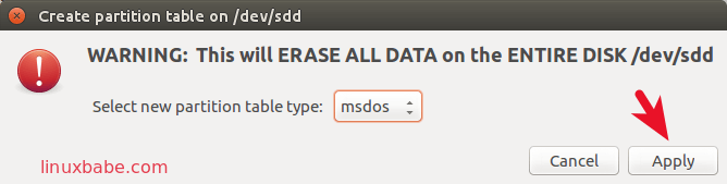 gparted create msdos partition table