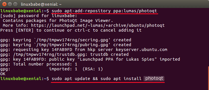 install photoqt on ubuntu