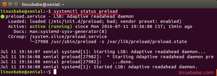 speed up ubuntu with preload