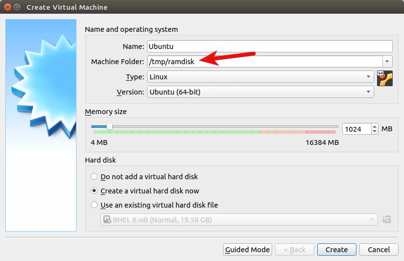 Run VirtualBox VM on RAM Disk