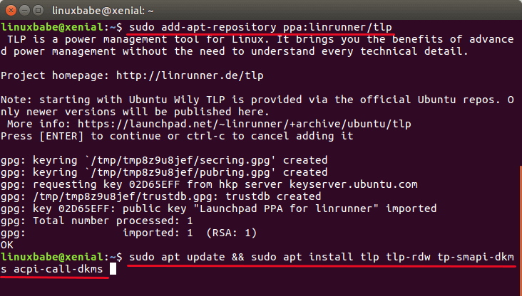 TLP advanced Linux power management tool