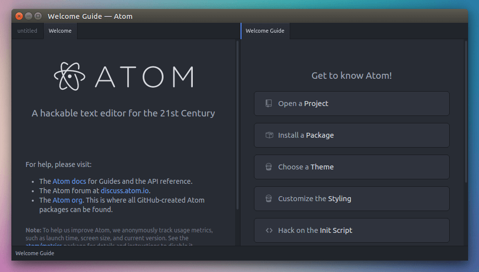 atom open source text editor