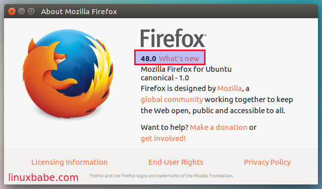 check firefox version on ubuntu