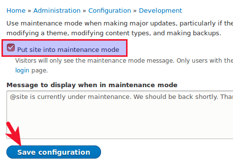 drupal 8 update put site into maintenance mode