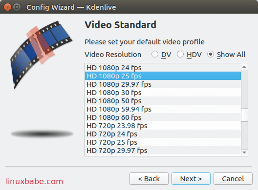 kdenlive default video profile